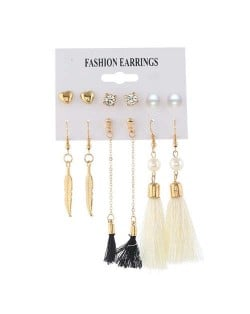 Dangling Leaves White and Black Cotton Threads Tassel 6 pcs Women Fashion Earrings Set