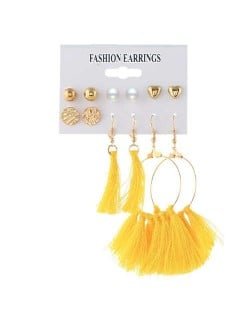 Dangling Hoop with Yellow Cotton Threads Tassel 6 pcs Women Fashion Earrings Set