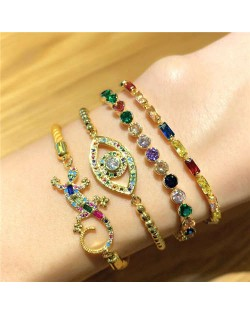 Colorful Cubic Zirconia Inlaid Gecko Eye Elements 18K Gold Plared Fine Jewelry Type Bracelets