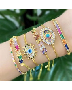 Colorful Cubic Zirconia Inlaid Magic Eyes 18K Gold Plared Fine Jewelry Type Bracelets
