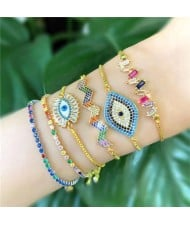 Colorful Cubic Zirconia Embellished Evil Eye 18K Gold Plated Fine Jewelry Type Bracelets