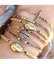 Colorful Cubic Zirconia Inlaid Seashell and Cross Elements 18K Gold Plated Fine Jewelry Type Fashion Bracelets