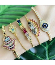 Colorful Cubic Zirconia Inlaid Magic Hand Elements 18K Gold Plated Fine Jewelry Type Bracelets