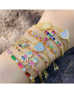 Colorful Cubic Zirconia Inlaid Kids Heart and Cross 18K Gold Plated Fine Jewelry Type Bracelets