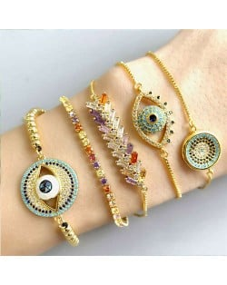 Colorful Cubic Zirconia Inlaid Creative Eyes Design 18K Gold Plated Fine Jewelry Type Bracelets