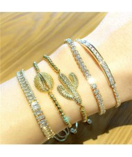 Colorful Cubic Zirconia Inlaid Cactus and Seashell 18K Gold Plated Fine Jewelry Type Bracelets