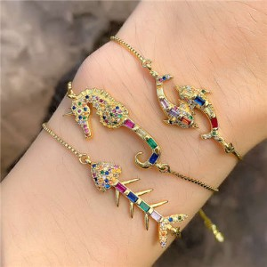 Colorful Cubic Zirconia Inlaid Ocean Fish Elements 18K Gold Plated Fine Jewelry Type Bracelets