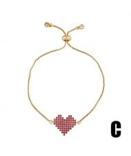Colorful Cubic Zirconia Inlaid Paper Clip and Heart 18K Gold Plated Fine Jewelry Type Bracelets