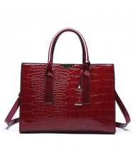 (3 Colors Available) Crocodile Texture Luxurious Design High Fashion Women Handbag/ Shoulder Bag