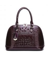 (3 Colors Available) Crocodile Texture Seashell Shape High Fashion Women Handbag/ Shoulder Bag