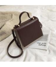 (4 Colors Available) Contrast Colors High Fashion Square Shape Design Women Handbag/ Shoulder Bag