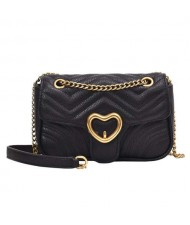(5 Colors Available) Heart Buckle Decorated Stitching Design Women PU Shoulder Bag