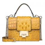 (7 Colors Available) Delicate Buckle Decorated Crocodile Skin Texture Women PU Tote Bag/ Shoulder Bag