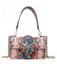(4 Colors Available) Snake Skin Texture with Birds Buckle Decoration Design High Fashion Women Tote Bag/ Shoulder Bag