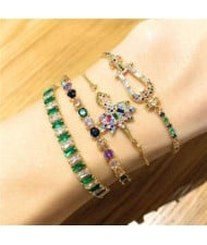 Colorful Cubic Zirconia Inlaid Ballet Dancer Design 18K Gold Plated Fine Jewelry Type Bracelets