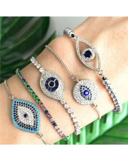 Colorful Cubic Zirconia Inlaid Vintage Eyes Design 18K Platinum Plated Fine Jewelry Type Bracelets