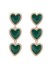 Triple Hearts Dangling Design Women Costume Alloy Earrings - Green