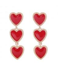 Triple Hearts Dangling Design Women Costume Alloy Earrings - Red