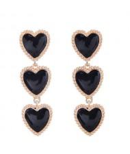Triple Hearts Dangling Design Women Costume Alloy Earrings - Black