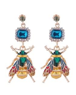 Oil-spot Glazed Bee Rhinestone Embellished High Fashion Women Statement Earrings - Blue