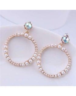 Pearl Hoop Design High Fashion Women Statement Alloy Earrings