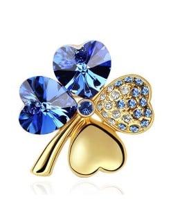 Austrian Crystal and Czech Stones Four Leaf Clover Gloden Brooch - Sapphire