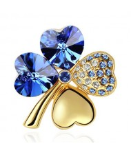 Austrian Crystal and Czech Stones Four Leaf Clover Gloden Brooch - Sapphire