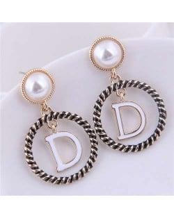 Alphabet D Inlaid Alloy Hoop Design Women Fashion Statement Earrings