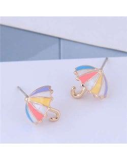 Oil-spot Glazed Sweet Umbrella Design Women Fashion Earrings