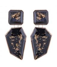Amber Design Irregular Shape Resin Women Alloy Costume Earrings - Black