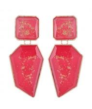 Amber Design Irregular Shape Resin Women Alloy Costume Earrings - Red