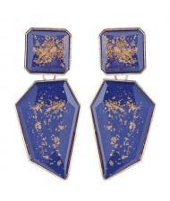 Amber Design Irregular Shape Resin Women Alloy Costume Earrings - Blue