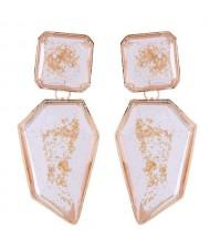 Amber Design Irregular Shape Resin Women Alloy Costume Earrings - Transparent
