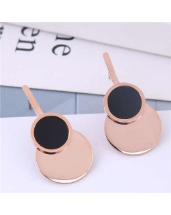 Rose Gold Color Korean Modern Fashion Stainless Steel Women Earrings