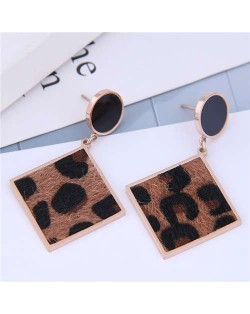 Leopard Prints Dangling Square with Oil-spot Glaze Stud Design Women Stainless Steel Earrings