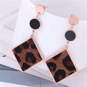 Leopard Prints Dangling Rhombus Design Bold Fashion Women Stainless Steel Earrings - Brown