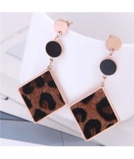Leopard Prints Dangling Rhombus Design Bold Fashion Women Stainless Steel Earrings - Brown
