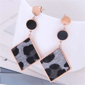 Leopard Prints Dangling Rhombus Design Bold Fashion Women Stainless Steel Earrings - Gray
