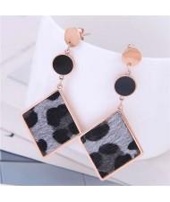 Leopard Prints Dangling Rhombus Design Bold Fashion Women Stainless Steel Earrings - Gray