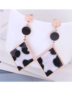 Leopard Prints Dangling Rhombus Design Bold Fashion Women Stainless Steel Earrings - White