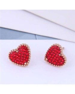 Cubic Zirconia Heart Delicate Design Korean Fashion Titanium Steel Women Earrings - Red