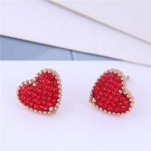 Cubic Zirconia Heart Delicate Design Korean Fashion Titanium Steel Women Earrings - Red