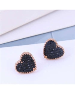 Cubic Zirconia Heart Delicate Design Korean Fashion Titanium Steel Women Earrings - Black