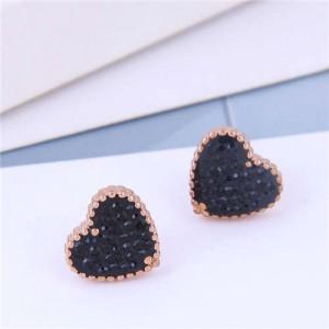 Cubic Zirconia Heart Delicate Design Korean Fashion Titanium Steel Women Earrings - Black