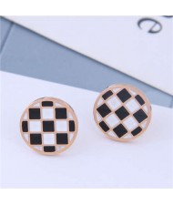 Black and White Contrast Colors High Fashion Round Design Titanium Steel Women Earrings