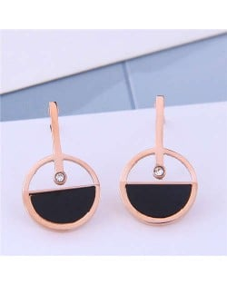 Rhinestone Embellished Hollow Round Design Sweet Fashion Titanium Steel Women Earrings