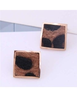 High Fashion Leopard Prints Design Square Shape Titanium Steel Earrings - Brown