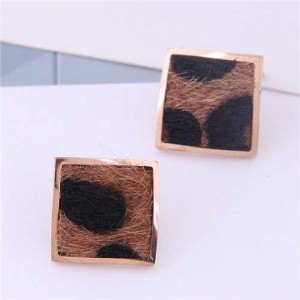 High Fashion Leopard Prints Design Square Shape Titanium Steel Earrings - Brown