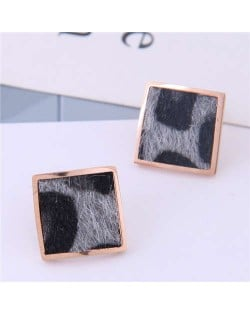 High Fashion Leopard Prints Design Square Shape Titanium Steel Earrings - Gray