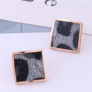High Fashion Leopard Prints Design Square Shape Titanium Steel Earrings - Gray